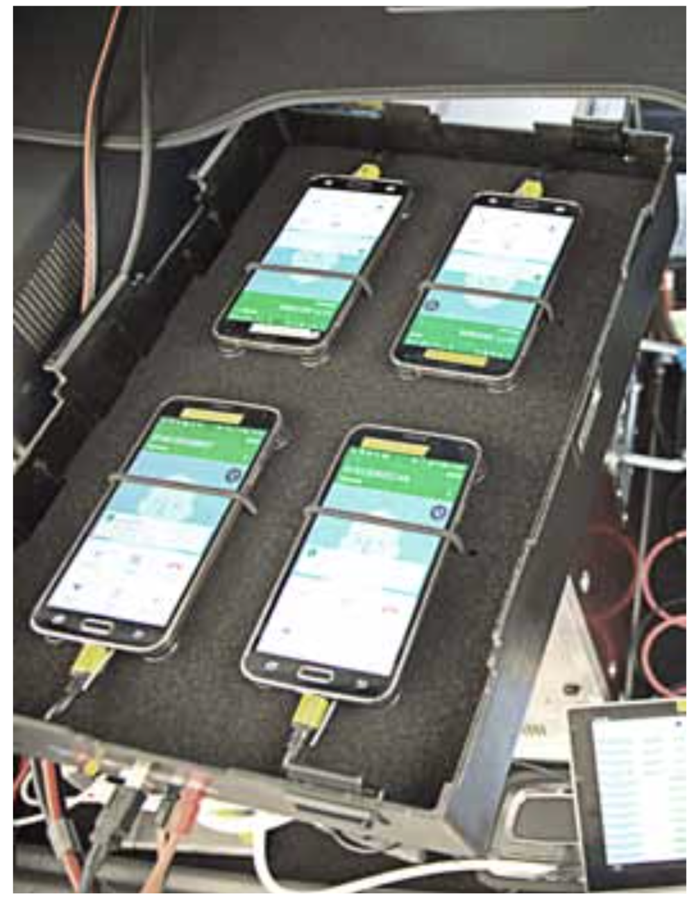 Each car carried a total of nine smartphones, housed in separate boxes – six per car were used for the voice tests and three additional ones for the data tests. Altogether, 36 devices were used in the drivetests.
