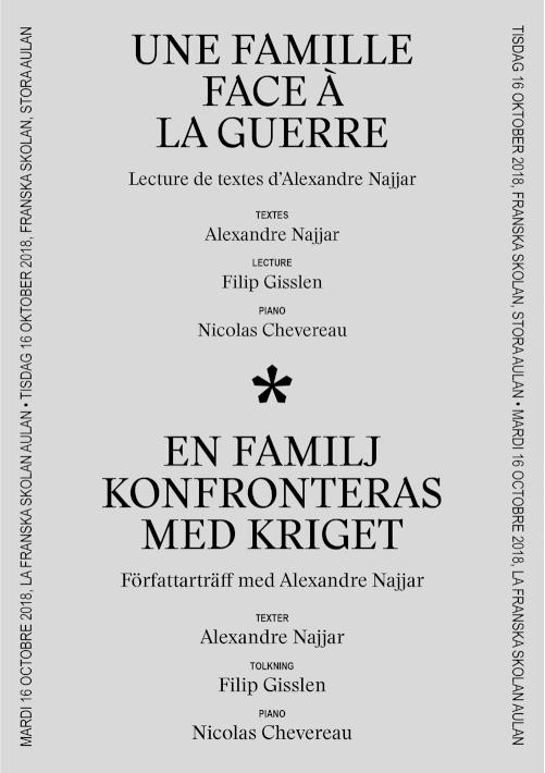 Program for a reading at the  Franska Skolan  in Stockholm