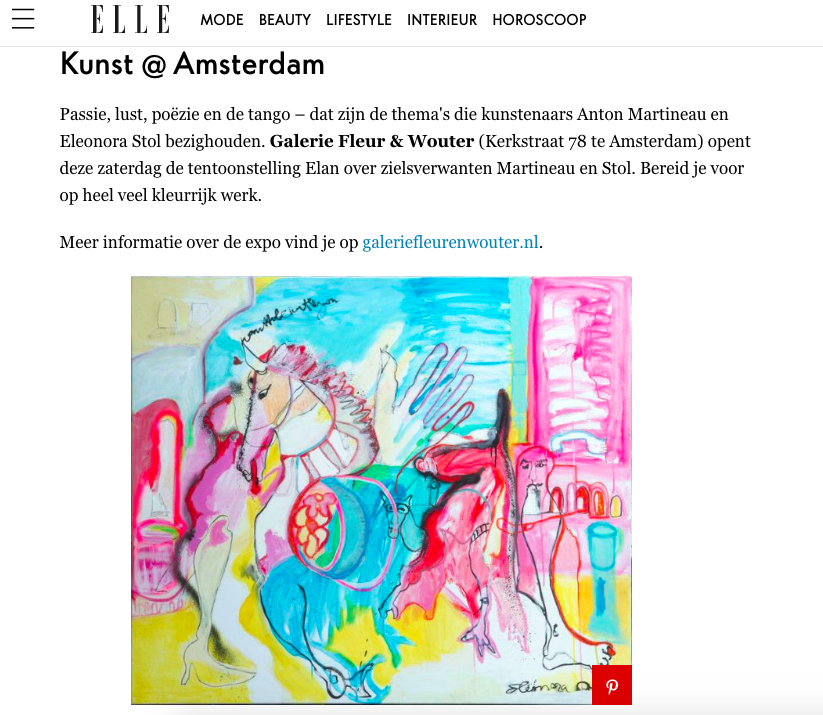 ELLE Nederland - -Article about the exhibition Elan-Read here