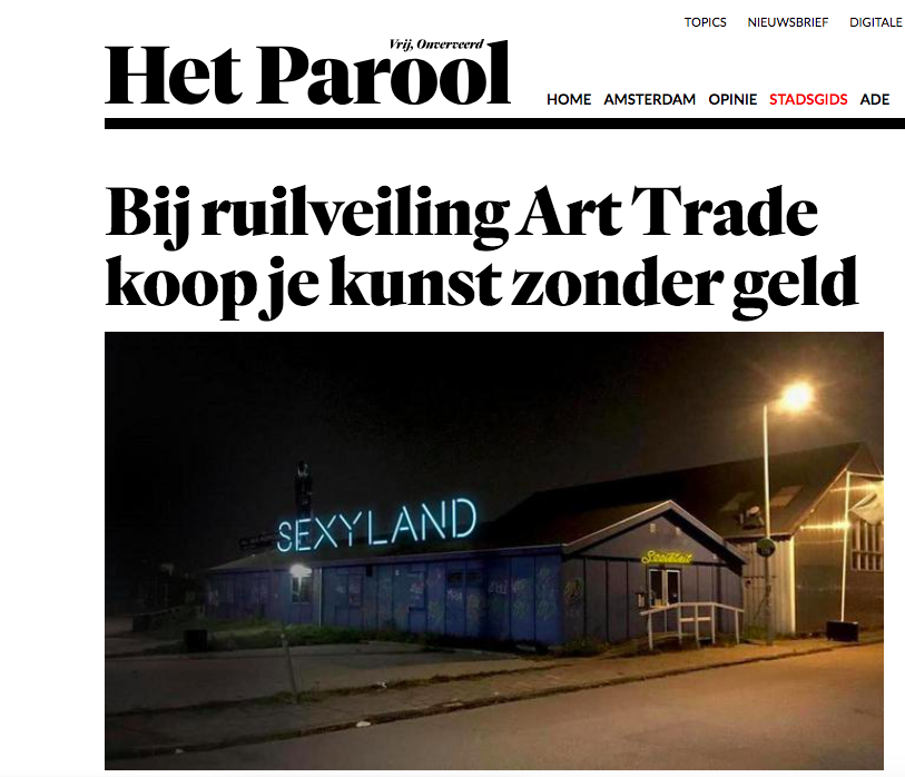 Het Parool - -Article about our auction Art Trade at Sexyland-Read here