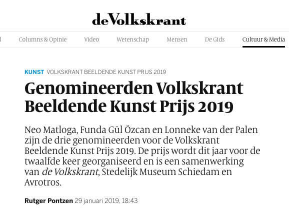 de Volkskrant - -Lonneke van der Palen is nominated for the Volkskrant Beeldende Kunst Prijs 2019.-Read here