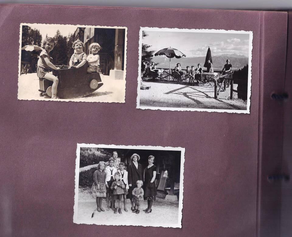 Sommeridylle auf der Terrasse der Alpenpension Zaubek aus dem Originalfotoalbum