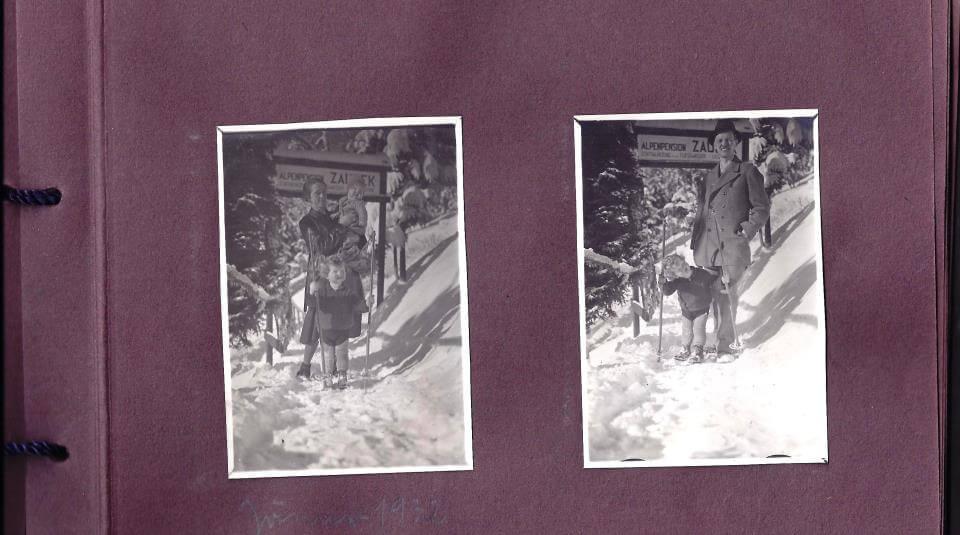 Martha Zaubek mit den Kindern Roswitha und Franz und daneben Fitz Zaubek auch wieder mit Sohn Franz im Winter 1932 auf der Kanzelhöhe