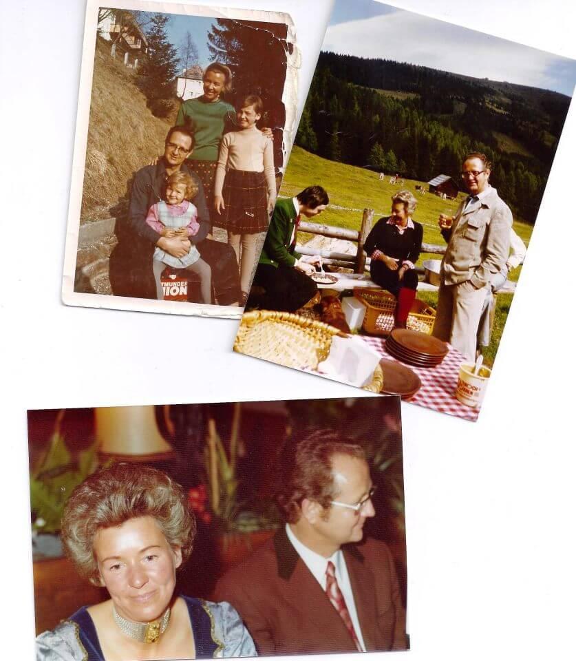 Hier zu sehen sind Inge mit den Töchtern Maria und Friederike und Franz Zaubek und weitere Bilder