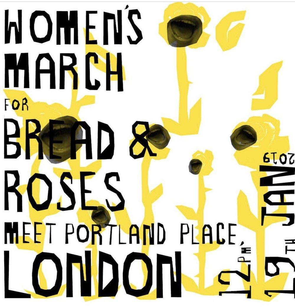 January 19 2019  Join our   WOMEN DEMAND BREAD & ROSES!   RALLY for   #WeAreChange    The   Bread & Roses Jan 19   rally will replicate the defiance and celebration of previous marches and rallies by Women's March London, which led to thousands of people taking to the streets of central London.