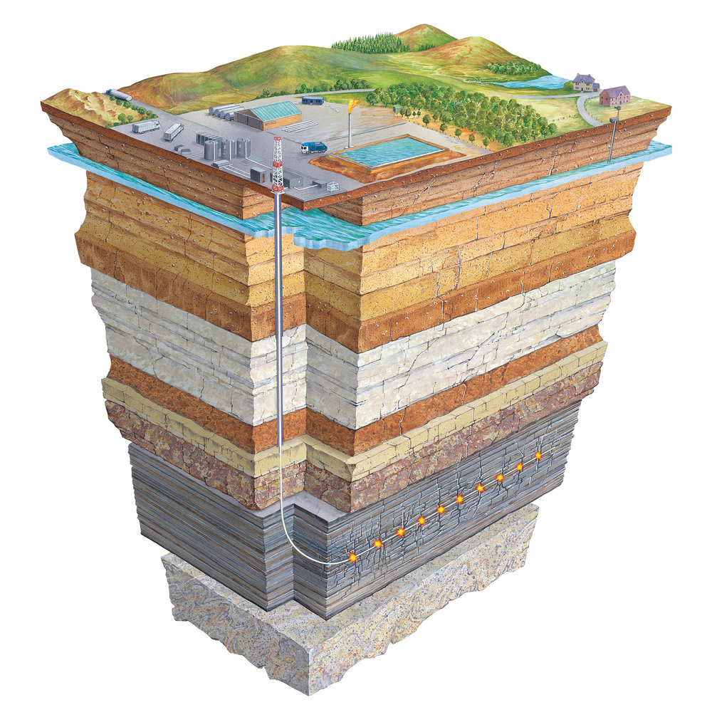 Fracking produces cracks in rock that make oil and gas easier to extract. Credit: Gary Hincks
