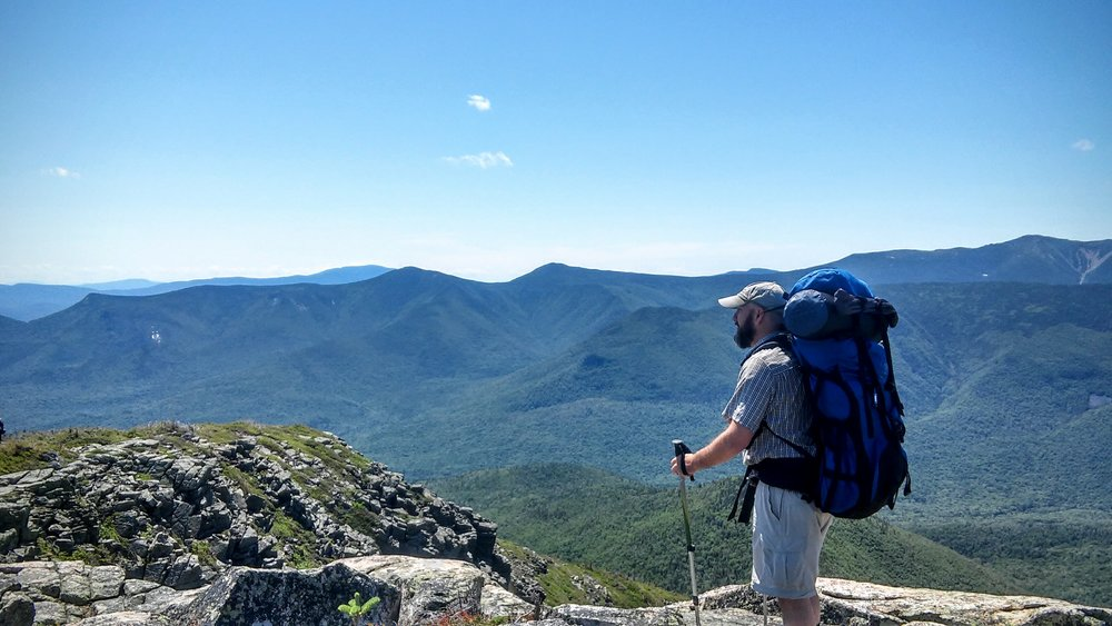 My friend, Chris, surveying the Pemigewasset Wilderness from the top of Mt. Bondcliff, New Hampshire
