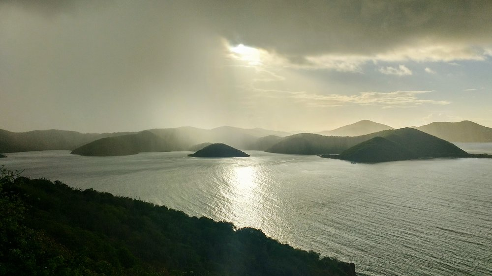 Morning shower moving across the island of St. John, USVI.