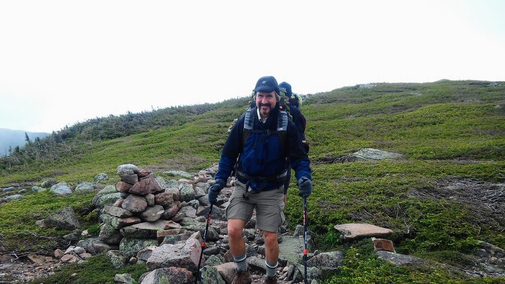 My friend, Greg, hiking in the alpine zone, White Mountains, NH