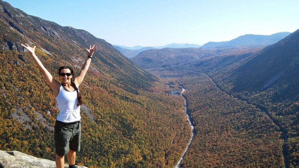 My wife feeling very accomplished at the top of Mt. Willard overlooking Crawford Notch.