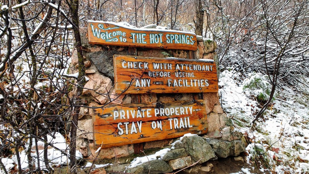 Sign near the entrance of Strawberry Hot Springs on our visit to Steamboat Springs, CO