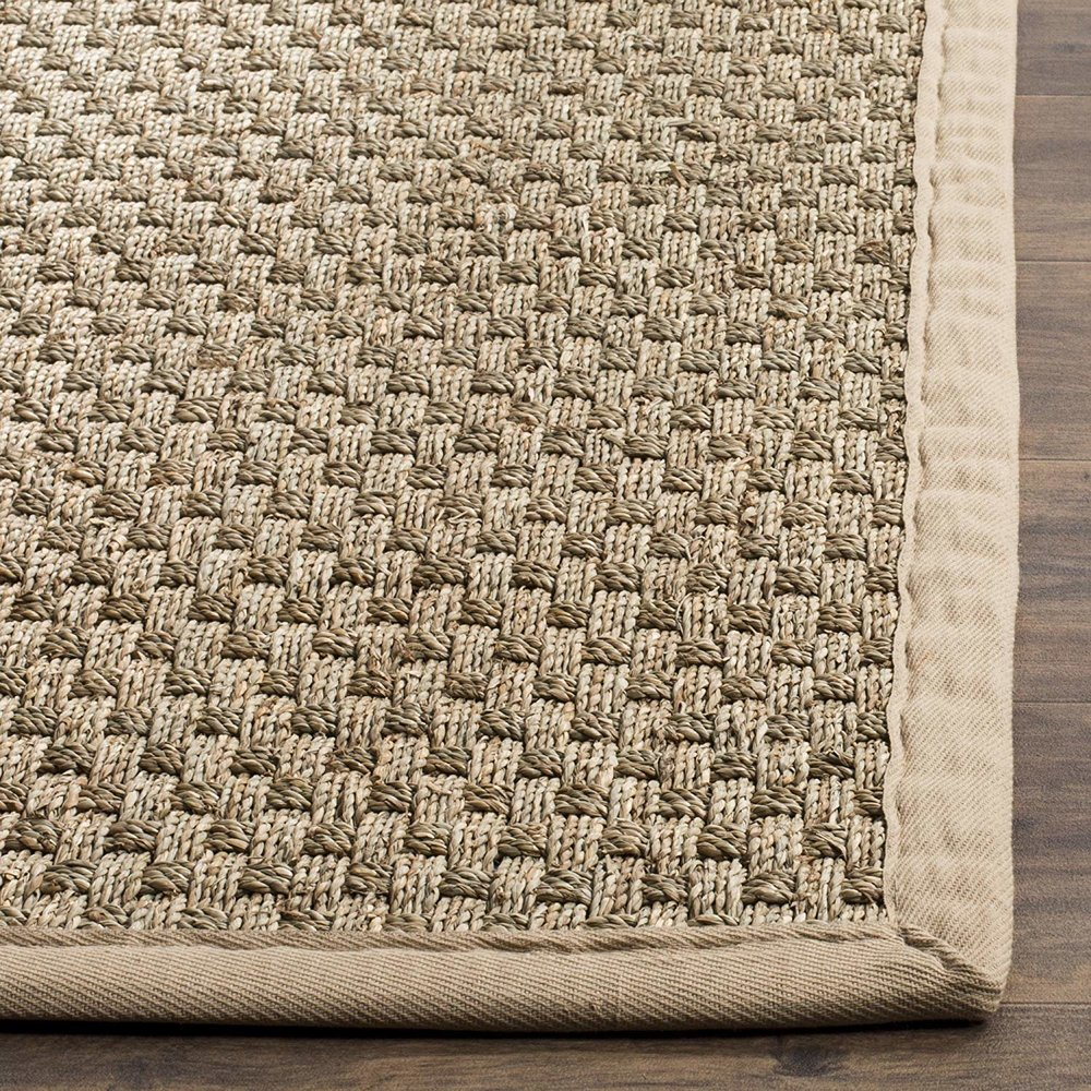 Basketweave Natural and Beige Summer Seagrass Area Rug (9' x 12')