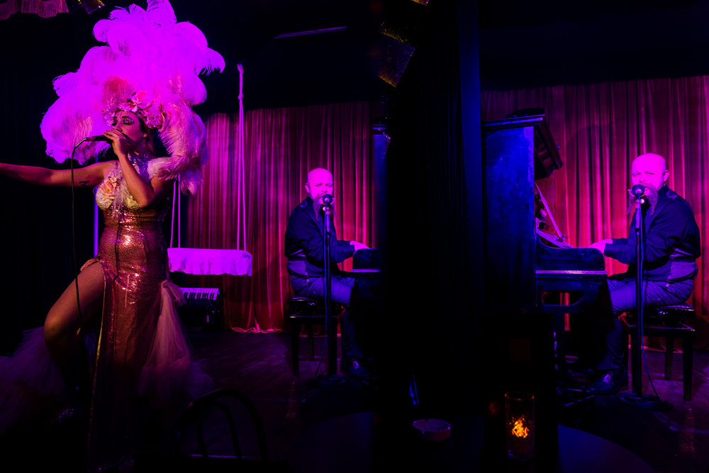 Mirko Dettori (40) and Madame de Freitas (35) performs a duo cabaret piece at their club in Rome, February 2018. They started together playing their shows in some of the shadiest strip-clubs until they were noted by the owner of another Roman historical cabaret club, the Micca Club, who convinced them to move to the Italian capital.