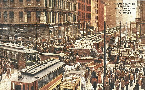 Downtown Chicago in the early 1900s.