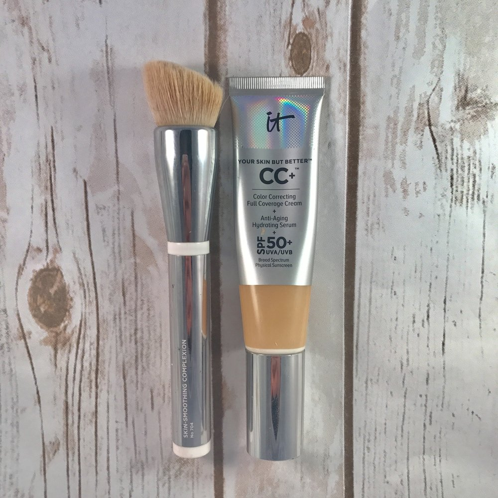 It CC+ Cream - I absolutely love It Cosmetics and their CC+ cream is great for travel because 1. It's amazing coverage and spf which is important 2. Its good for your skin.   I feel like travel really wears on my skin so I love this because it is good for my skin while also covering discoloration and all the other skin thangz 3. It a plastic bottle so it is really easy to throw in your purse and not have to worry about it breaking