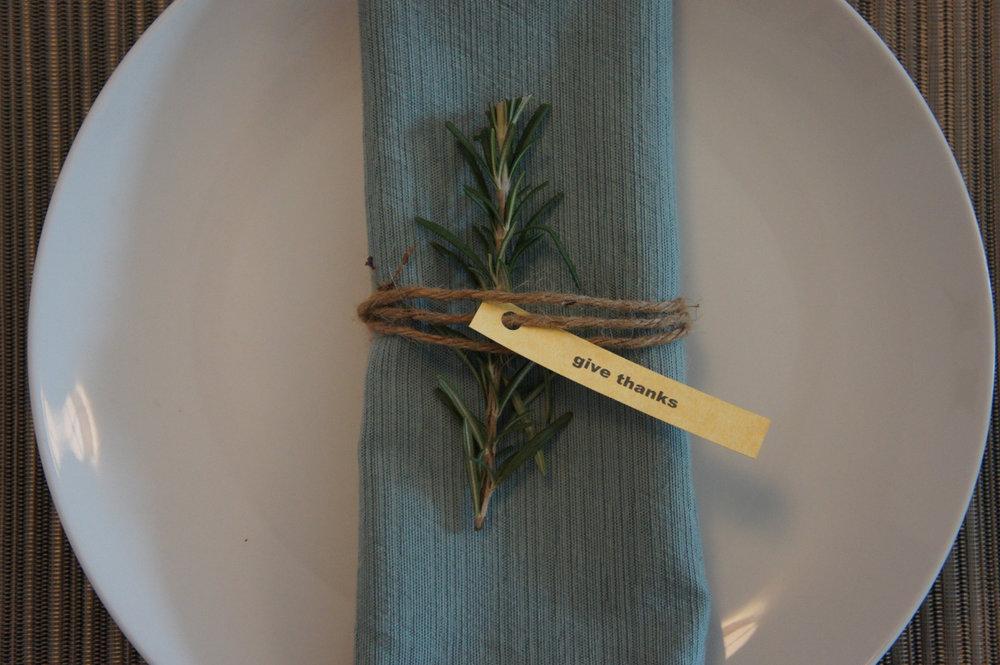thanksgiving dinner table and rosemary napkin.JPG
