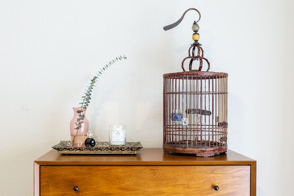 mid century modern dresser and bird cage.jpg