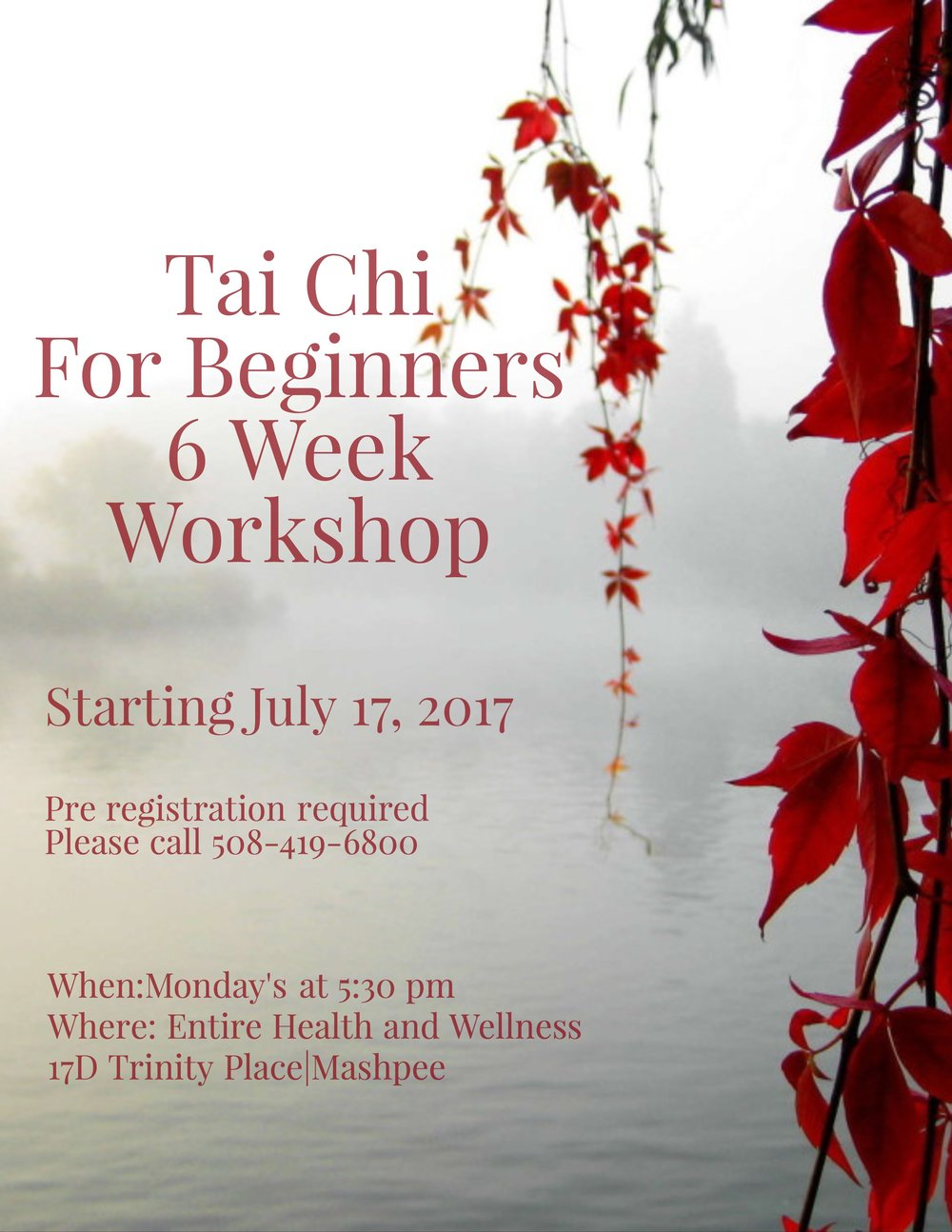 Tai Chi For Beginners  - Finally, a Tai Chi class will be offered at the Entire Health and Wellness location at 17D Trinity Place in Mashpee. This marks the first of an ongoing series of classes that will offer the ancient Chinese practice of Tai Chi taught by Dr. Sean Foss, a Naturopathic doctor and acupuncturist. Dr. Foss has 25 years experience in martial arts. This unique form of exercise combines mind, body and spirit into a fluid means of healing the body's immune system, improving strength and flexibility, reducing pain and improving overall quality of life. CLASS FULL