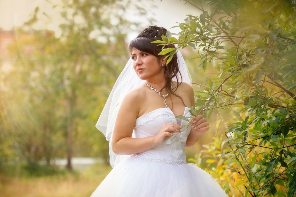 Norilsk - Girl with white wedding dress in the forest