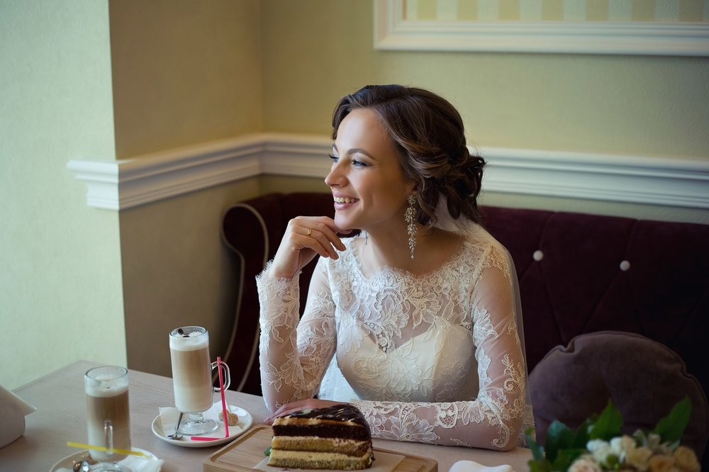 Norilsk Russia - Russian bride with coffee and cake