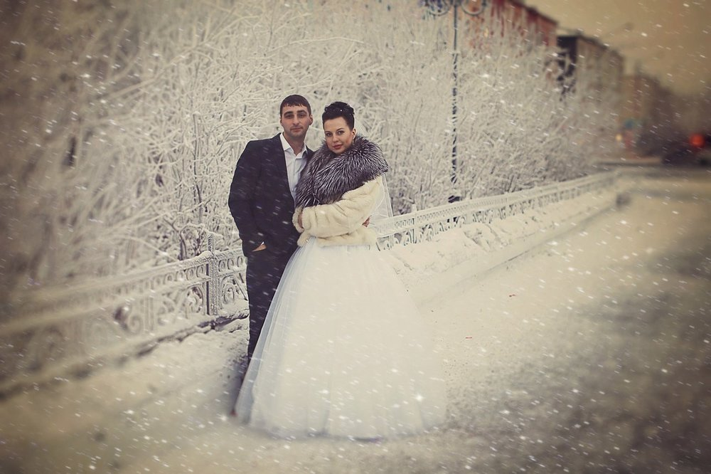Norilsk life - Russian couple in the snow