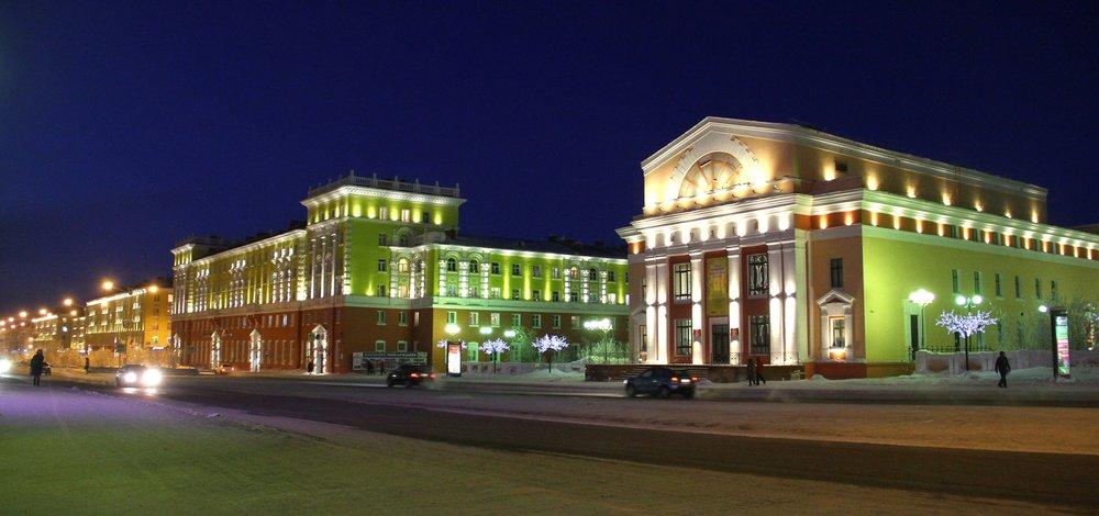 Norilsk city at night