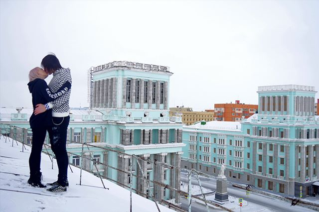 Be my love in Norilsk, in cold weather and low temperatures