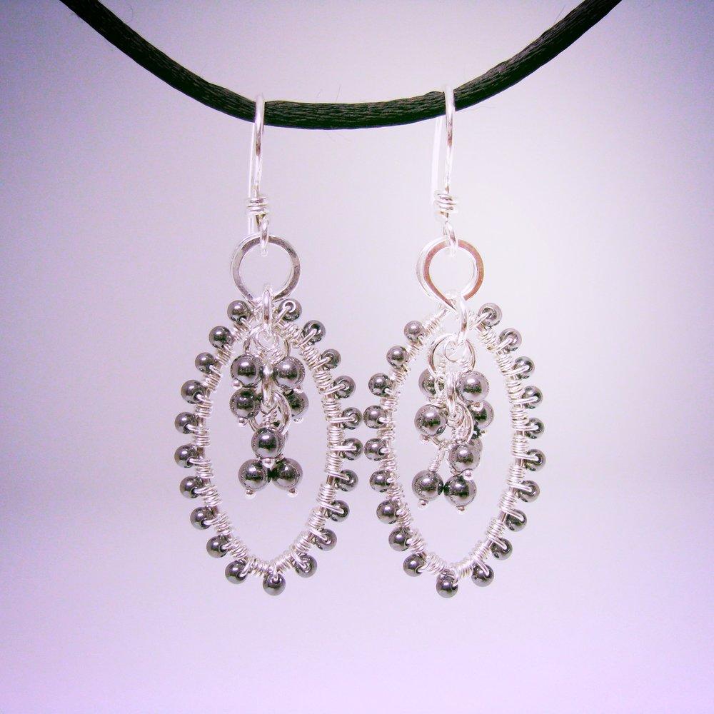Silver and Hematite Wrapped Earrings ER1048 110.jpg