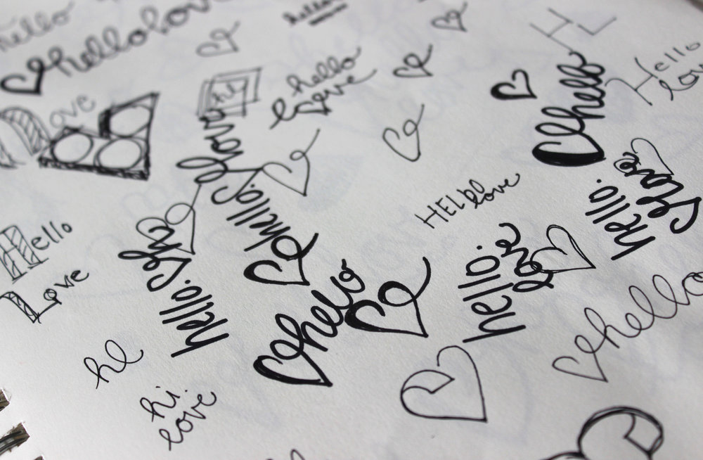 Hello Love Logo Sketches