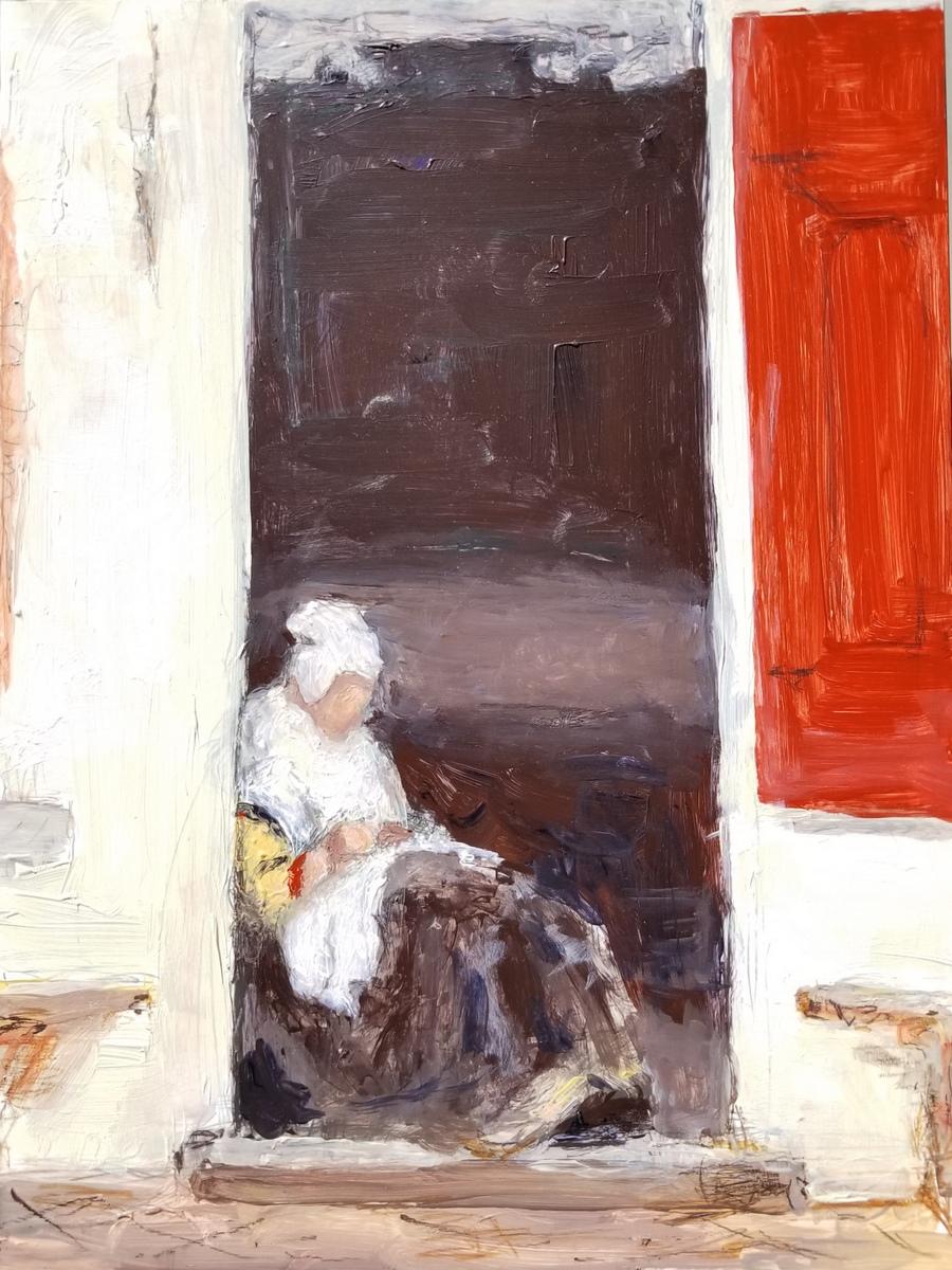 Woman of Delft in Doorway, after Vermeer