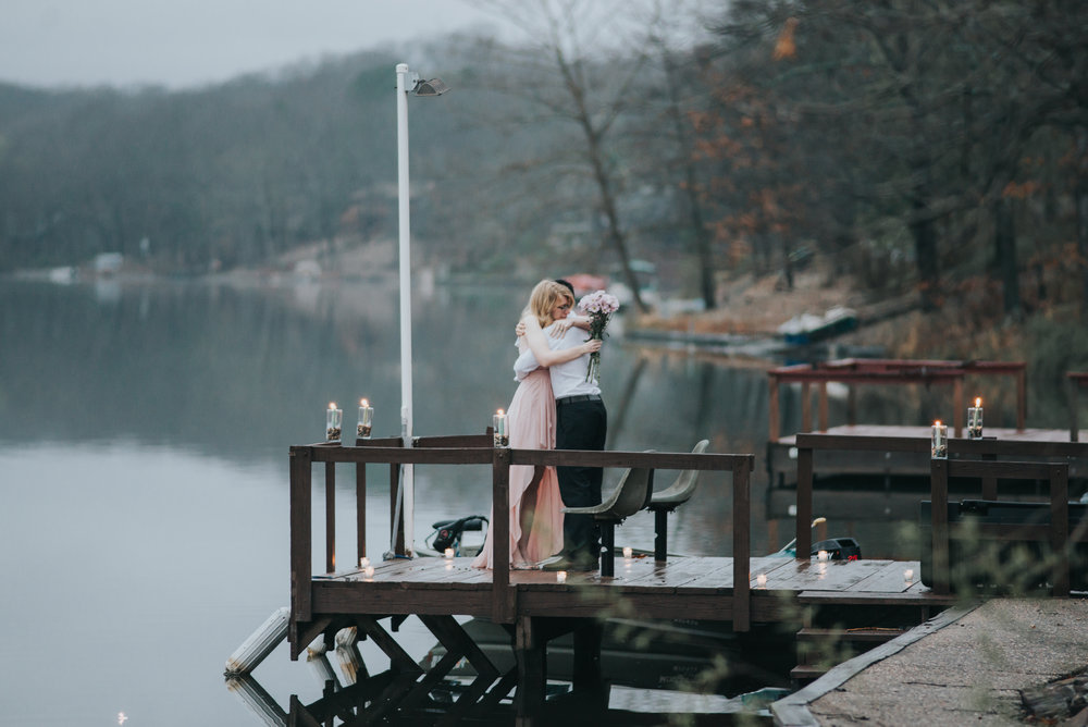 Surprise proposal at Lake Avalon in Bella Vista, Arkansas