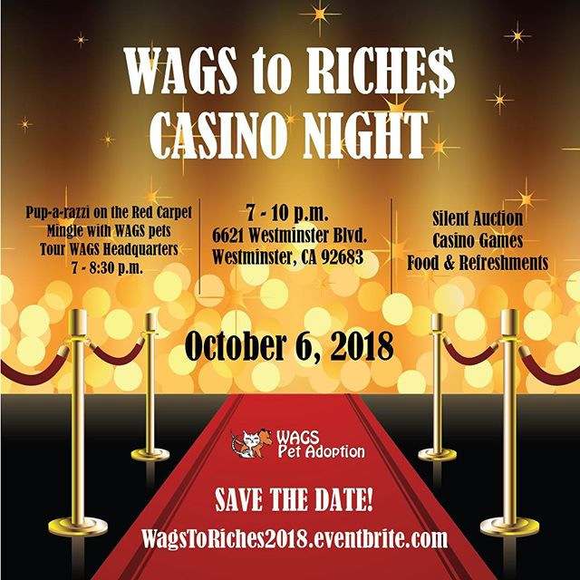 Proud to partner with @wagspetadoption on their 5th Wags to Riches Casino Night, Oct 6! Come support a great cause: wagstoriches2018.eventbrite.com