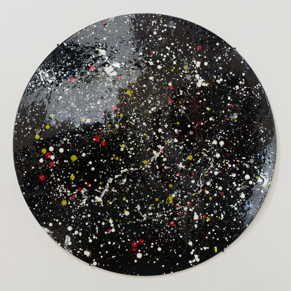 Circular Universe acrylic, gesso on poster board enameled 39 inches diameter TMO 011G