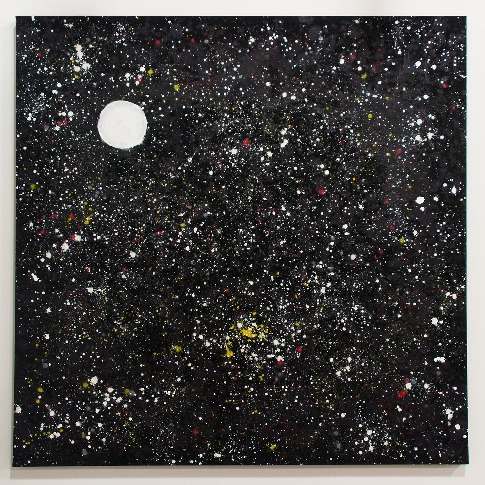 Full Moon acrylic, gesso on canvas 65 x 65 inches TMO 004G