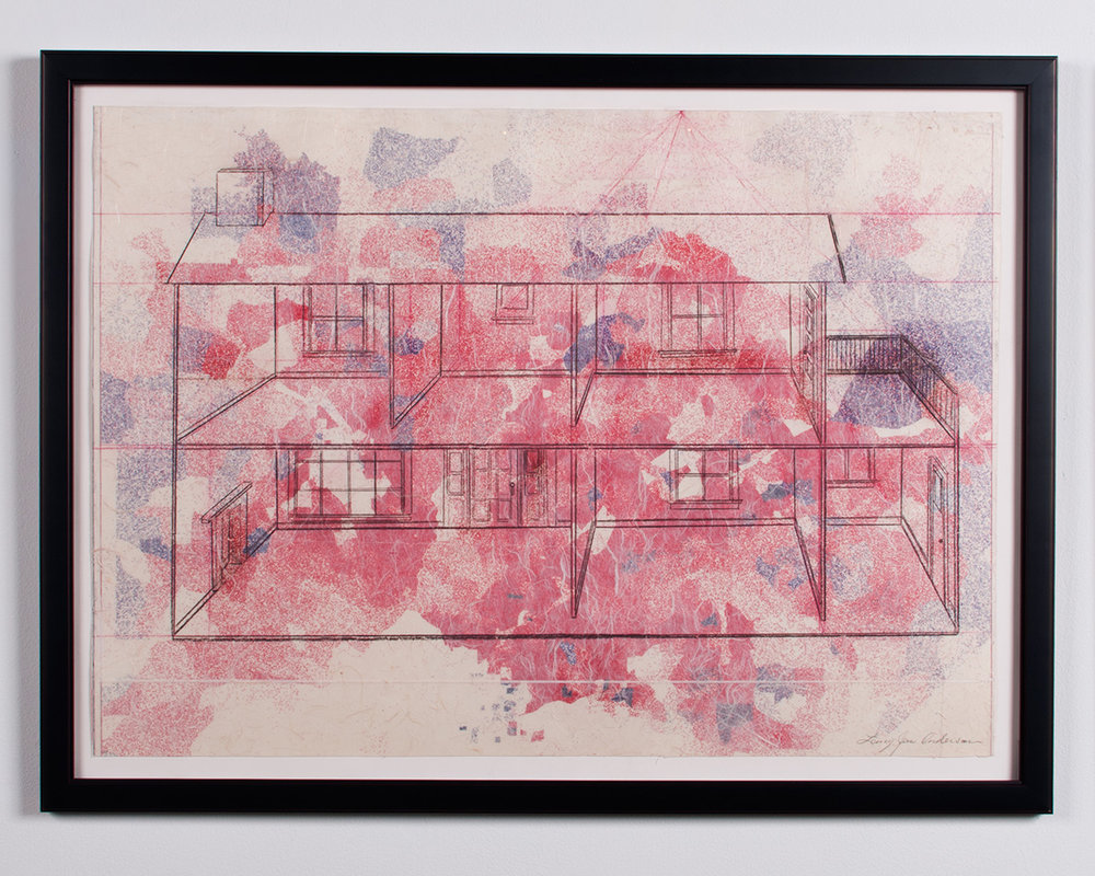 Empty Home collaged paper, vinyl, graphite, colored pencil 37.75 x 28 LJA 149G
