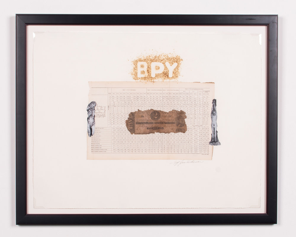 Battle of BPY document collaged, gun powder 24 x 30 LJA 165G