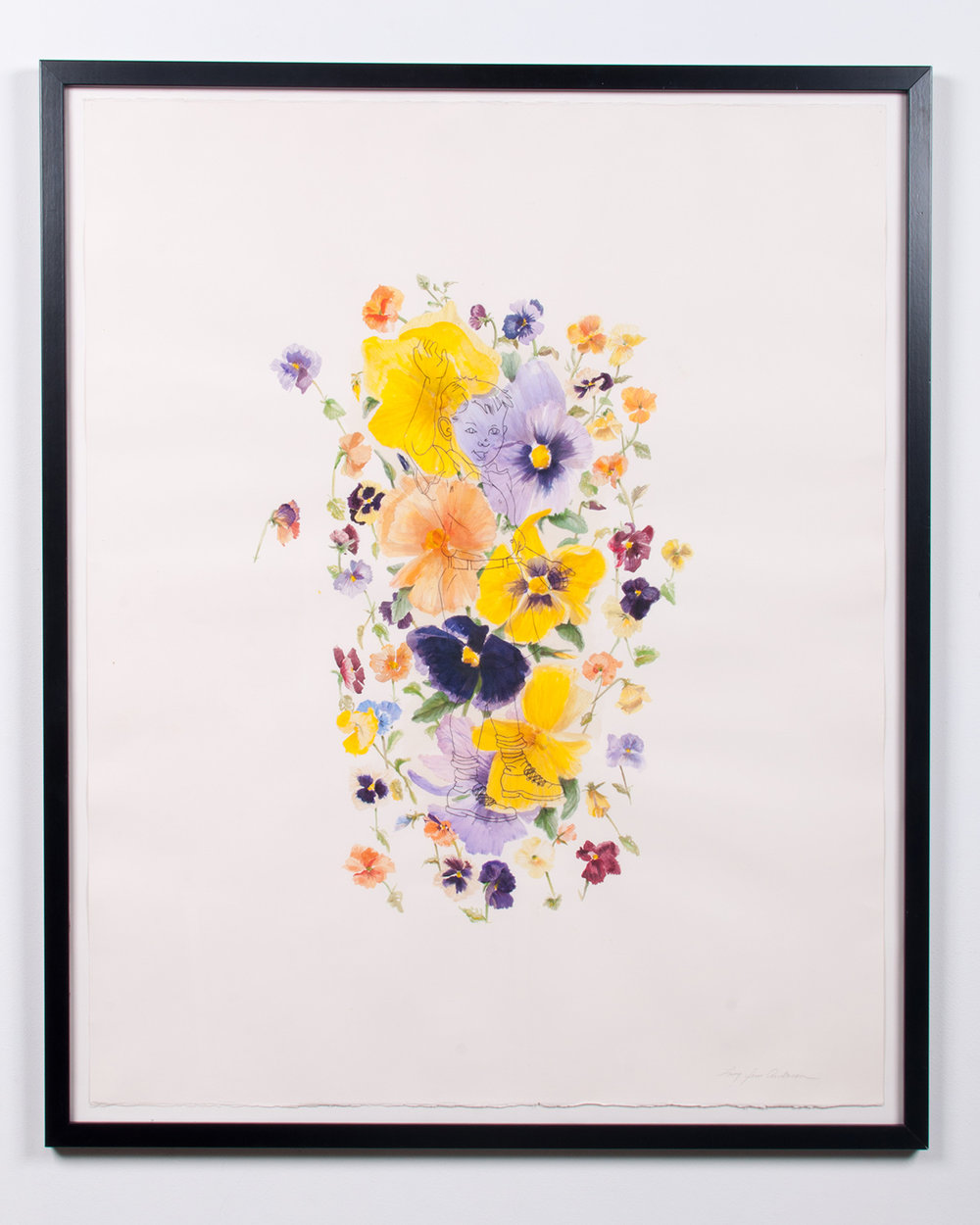 Big Pansy watercolor and colored pencil 45.75 x 37.5 LJA 162G