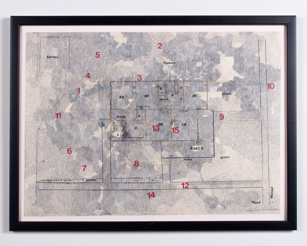 Memories graphite, vinyl on collaged papers, press type, colored pencil 37.75 x 28 LJA 150G