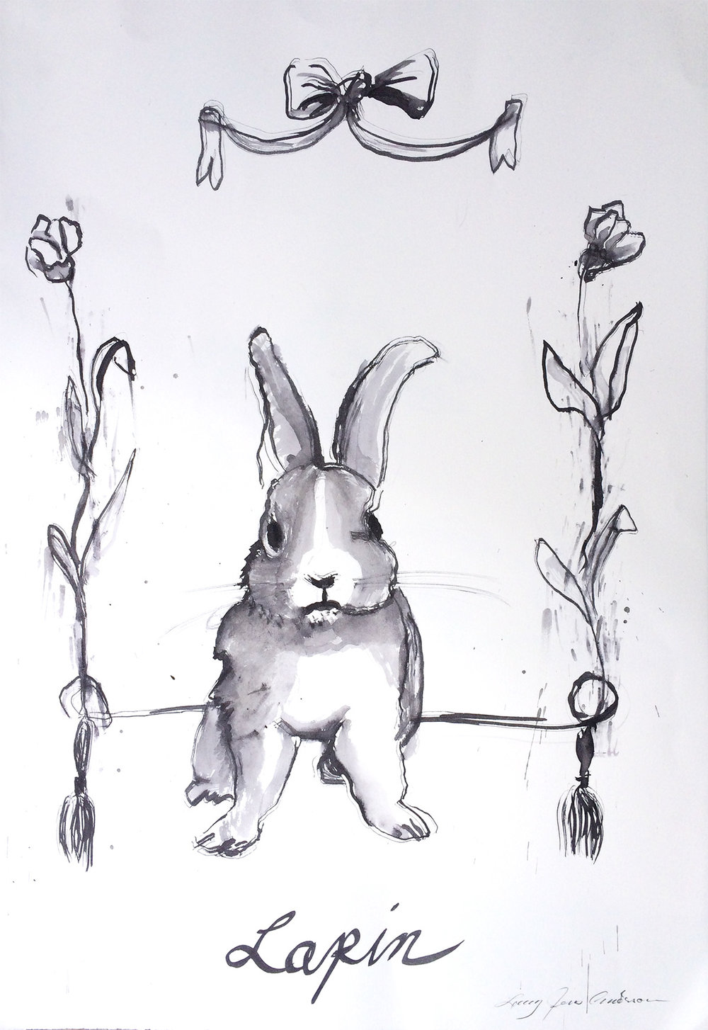 French Rabbit Ink on paper 29 x 21 inches LJA 108G