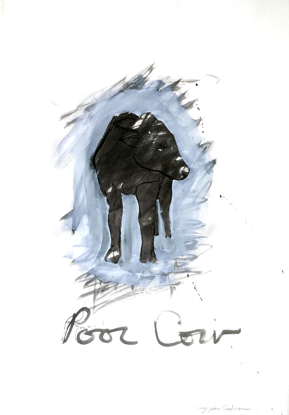 Poor Cow ink and watercolor on paper 29x 21 inches LJA 110G