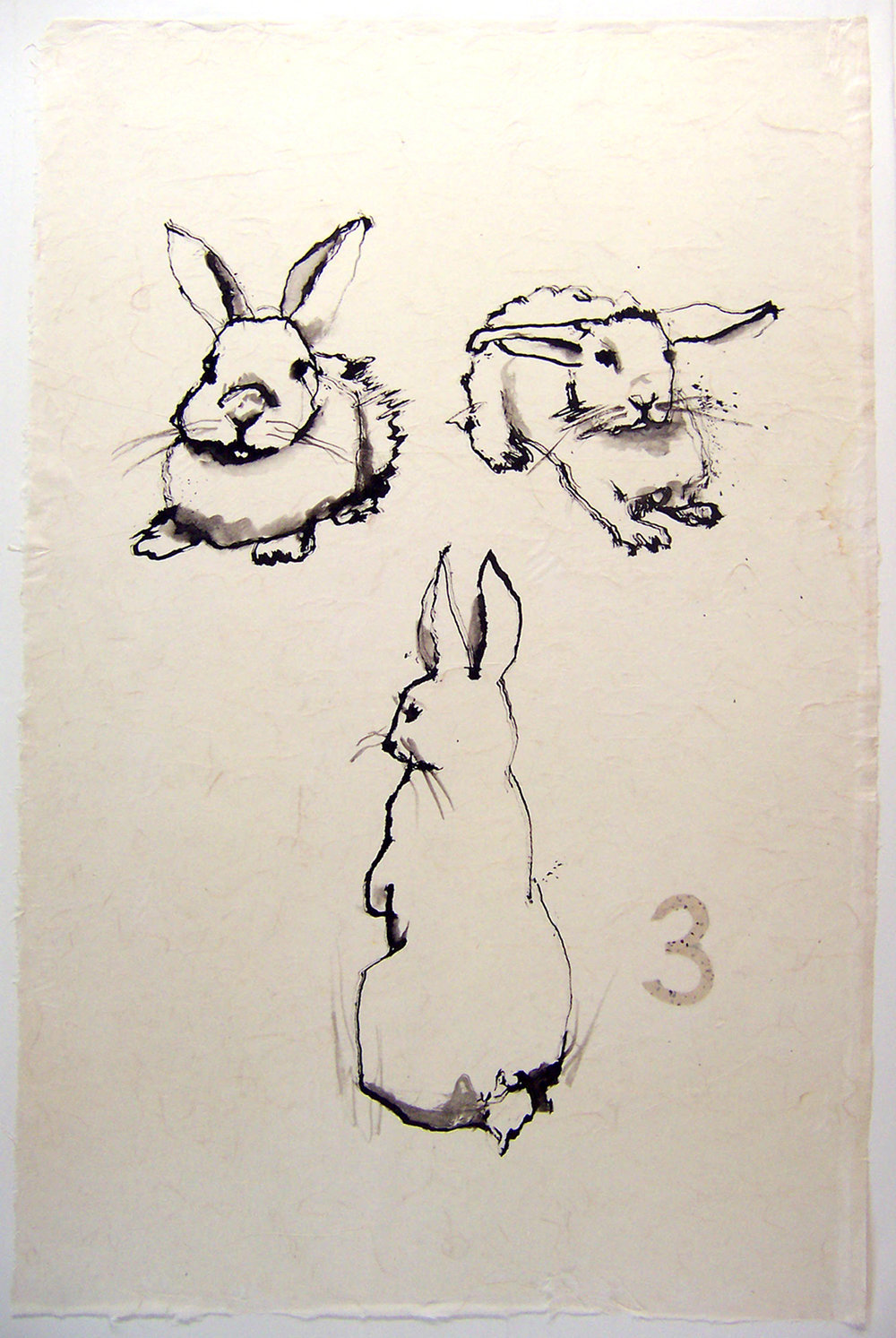 THREE ink on rice paper 45 x 30.5 inches LJA 045G