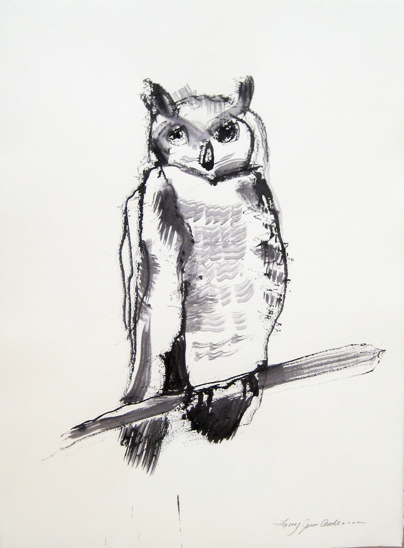 OWL 2 ink on paper 30 x 21.75 inches LJA062G