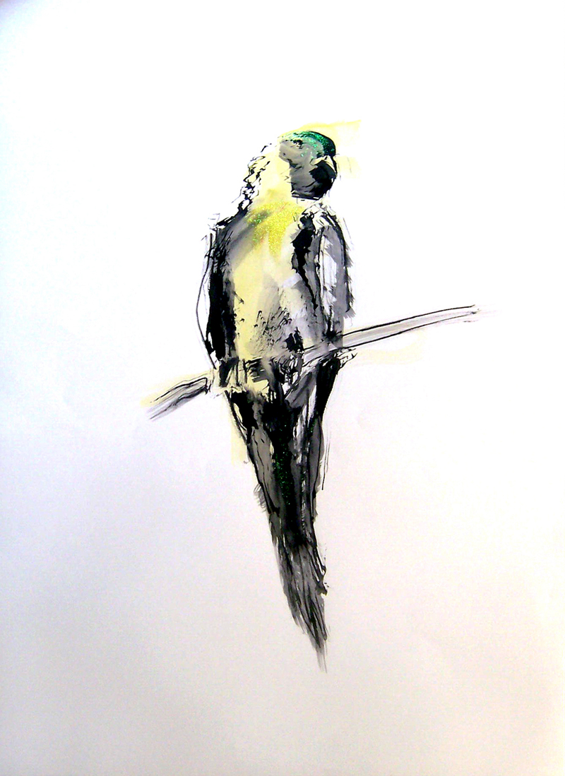 FESTIVAL PARROT ink, watercolor, glitter on paper 41.75 x 30 inches LJA 008G