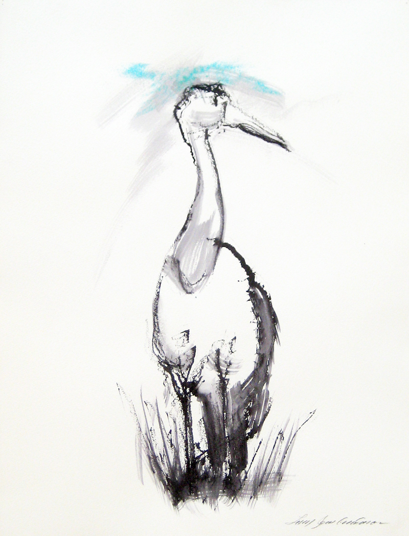 CRANE ink, glitter on paper 30 x 21.75 inches LJA 020G