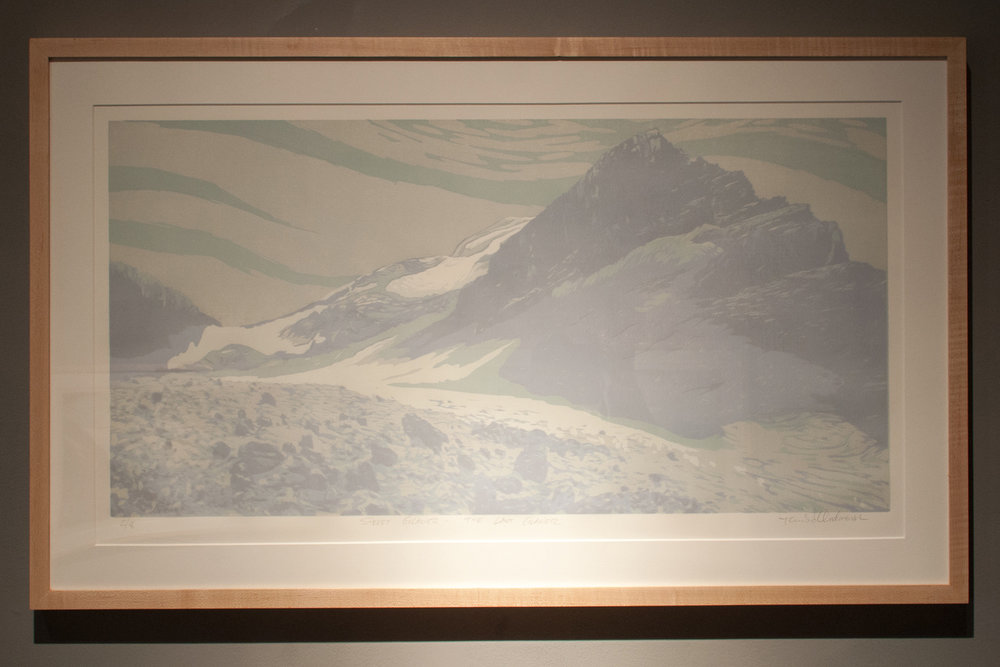 Sperry Glacier – The Last Glacier reductive jigsaw woodcut print, five runs and five colors 22 x 36 inches TAN 005G