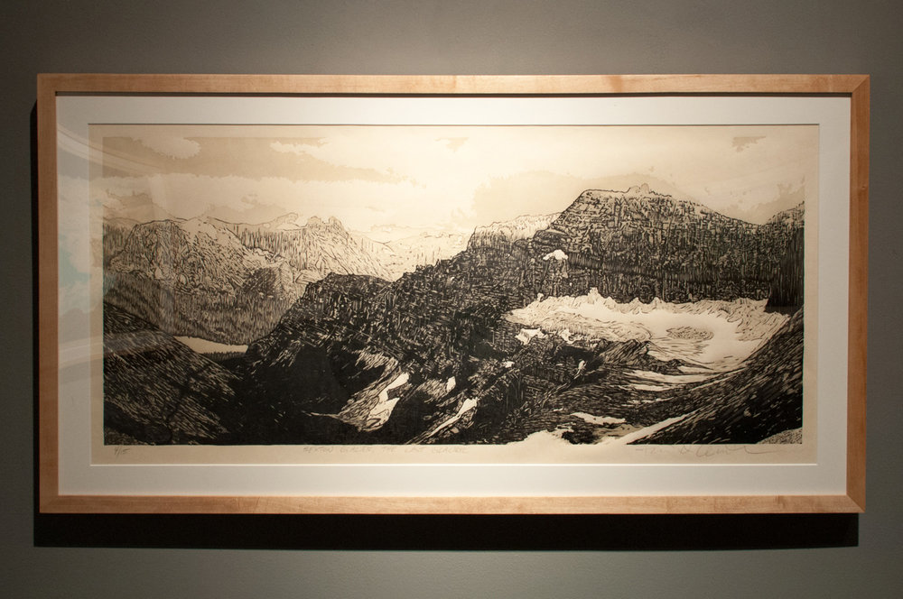 Sexton Glacier – The Last Glacier Reductive woodcut, four runs and four colors 15 x 30 inches TAN 005G