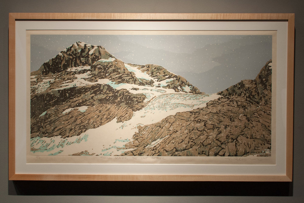 Jackson Glacier – The Last Glacier Reductive jigsaw woodcut, eight runs and thirteen colors 15 x 30 inches TAN 003G