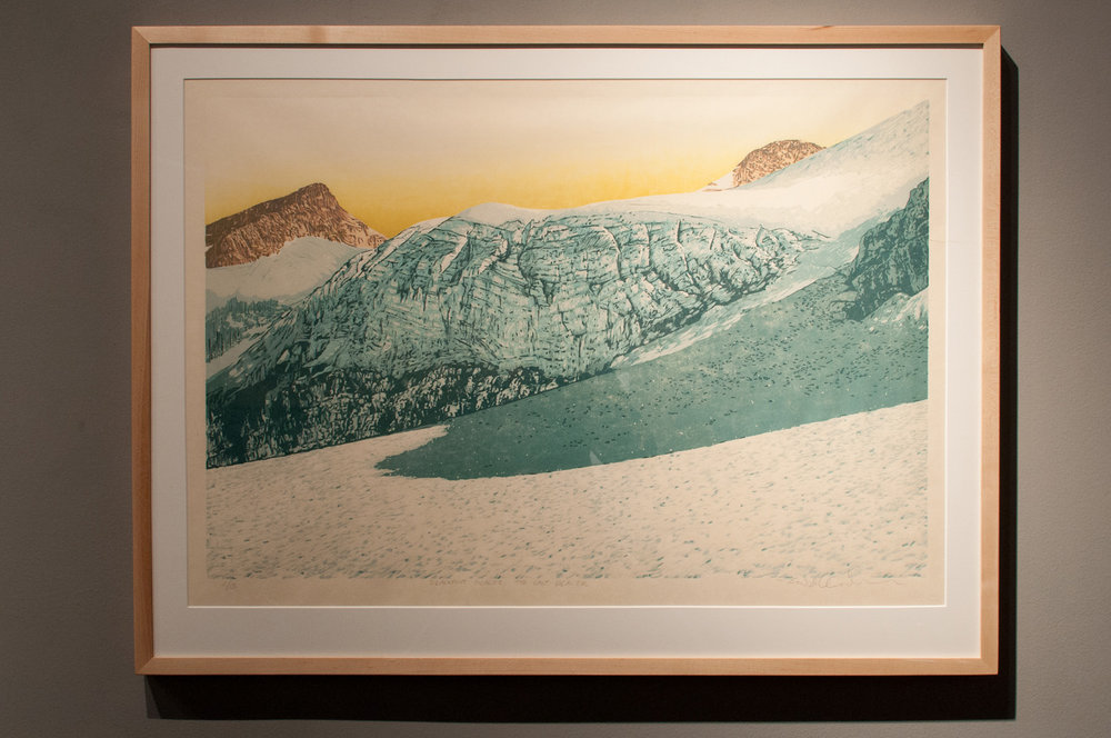 Blackfoot Glacier – The Last Glacier Reductive jigsaw woodcut, six runs and eight colors 20 x 30 inches TAN 001G