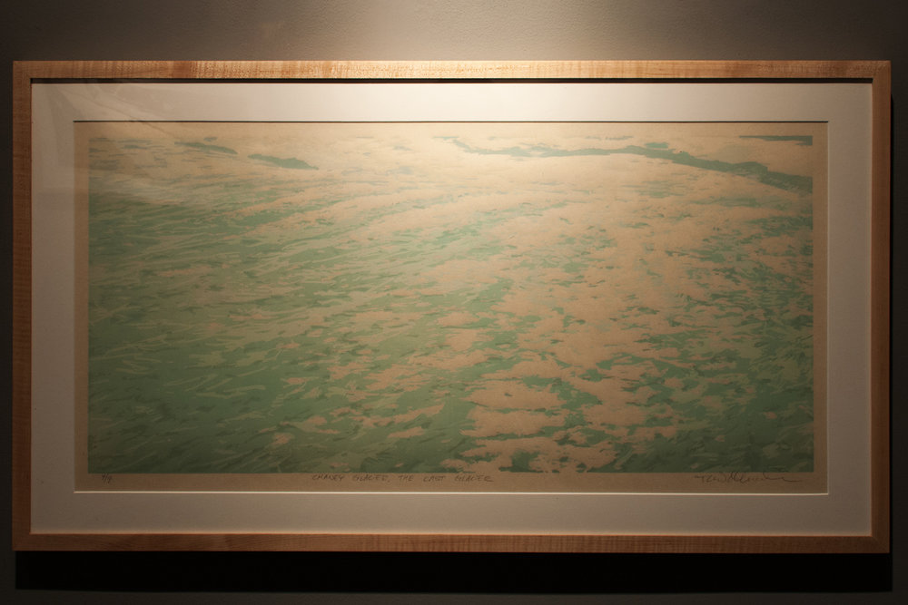 Chaney Glacier – The Last Glacier Reductive woodcut, three runs and twelve colors 14 x 29.75 inches TAN 007G