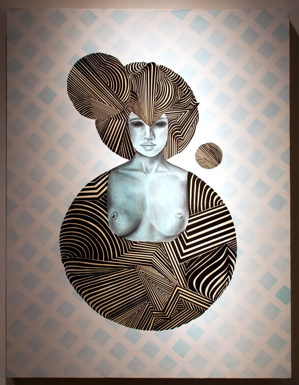 Luna mixed media on paper mounted on wood 48 x 36 inches LBR 036G